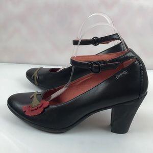 935ec57f7712 Camper Shoes - Camper Black Leather Heels w  Ankle Strap Sz 39